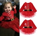 2016 new Christmas girl dress red long-sleeved autumn dress dot baby clothes cotton Christmas party costume kids clothes