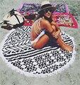 59 inch fashion women large chiffon tassel round  beach towel lady's sunscreen beach pashmina and scavers Yoga mat beach mat