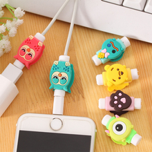 1PCS Cute Animal Cartoon Cable Protector de cabo USB Cable Winder Organizer For iPhone 5 5s