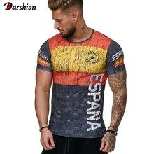 Camiseta estampada 3D más nueva de verano camiseta Casual Camiseta Masculina de manga corta ajustada de verano Camisetas de cuello redondo camiseta de fútbol bandera de España de moda