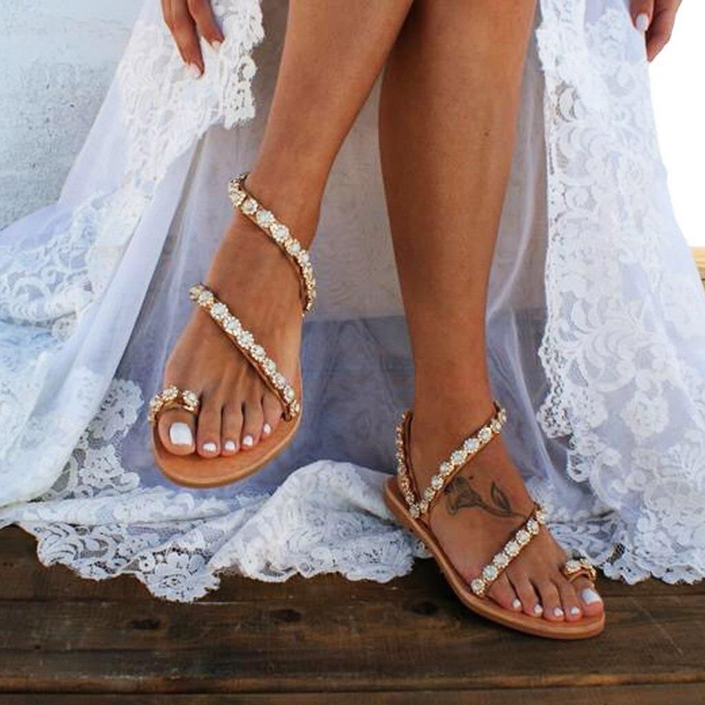 Schuhe 2019 Mode Youyedian Frauen Schuhe Damen Sommer Feste Flache Kristall Hausschuhe Strand Sandalen Römische Schuhe Alias Mujer 2019 Cuero Genuino #3 Mit Dem Besten Service