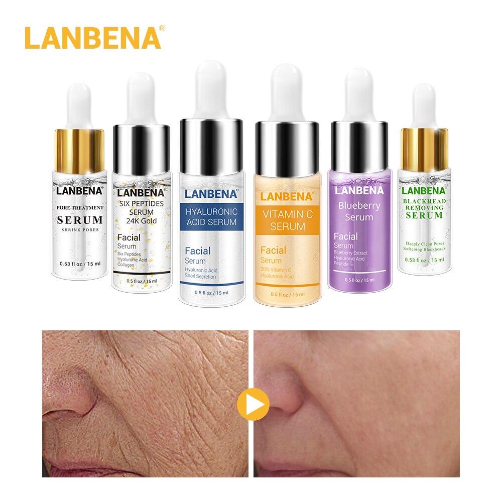 Anbena Hyaluronic Acid Serum+ Vitamin C 24k Gold Serum+blueberry Serum+pore Treatment Serum+blackhead Remove Serum 6pcs