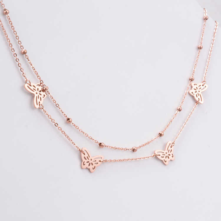 New pink gold color titanium steel multi layer necklaces & pendants colar, chic butterfly necklace collier womens jewellery
