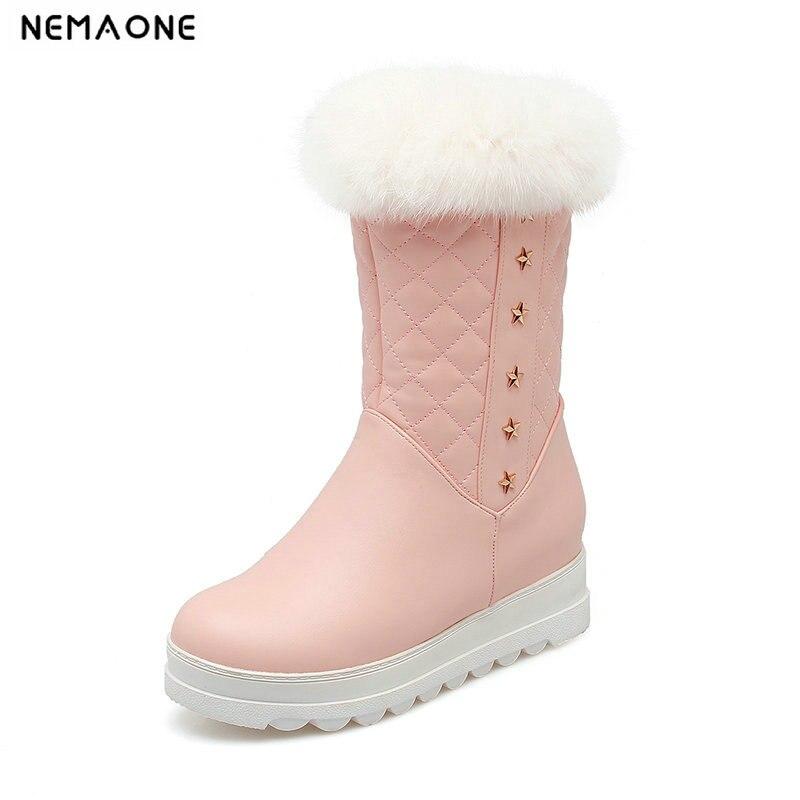NEMAONE Women boots winter shoes plush warm women snow boots waterproof platform boots large size 34 43 black pink white