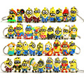 10 pcs 3D MInions figuras toy car keychain key ring set 2016 New Plastic Despicable me minions Bob  figurine party supply decor