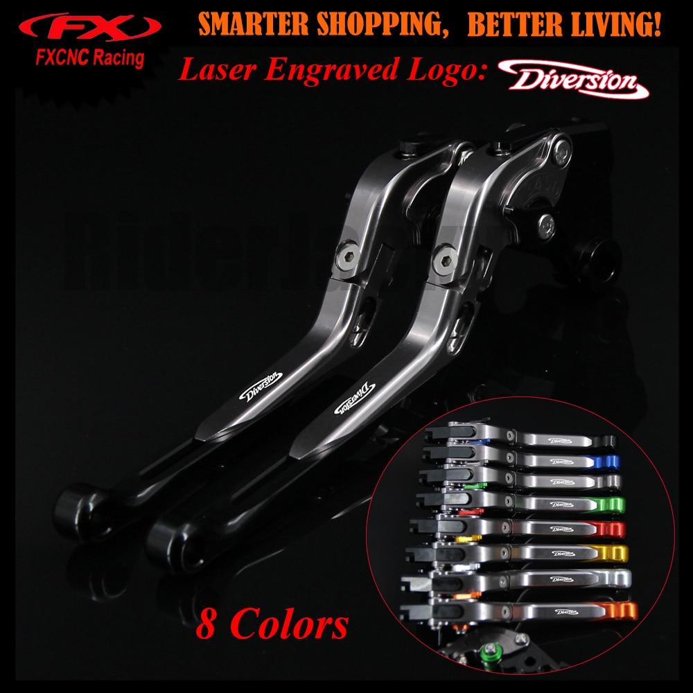 Logo CNC Black+Titanium Motorcycle Adjustable Brake Clutch Lever For Yamaha XJ900 Diversion 1995-2003 1998 1999 2000 2001 2002
