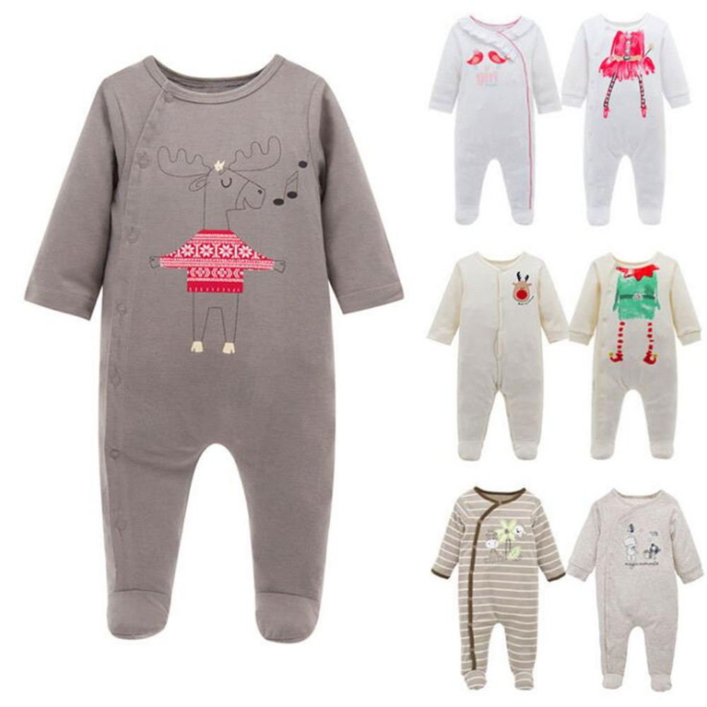Foreign Trade Baby Unisex Clothes 100% Cotton Cartoon Climb Clothes Girls Boys Baby Clothes Jumpsuits 6 Kinds Style Optional Kid