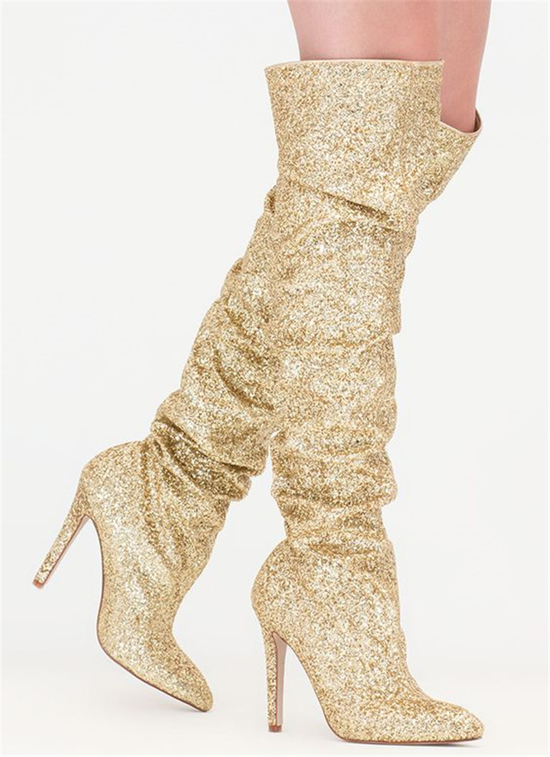 Luxury Gold Glitter Shiny Thigh High Boots Design Bling Over The Knee Boots High Heels Party Dress Shoes Women Botas mujer 2019Luxury Gold Glitter Shiny Thigh High Boots Design Bling Over The Knee Boots High Heels Party Dress Shoes Women Botas mujer 2019