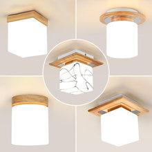 DX – plafonnier Led en bois et verre, design moderne, éclairage d'intérieur, Luminaire décoratif de plafond, idéal pour un balcon ou un couloir, couleur blanche chaude