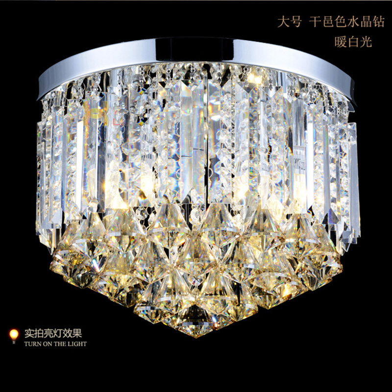 home 14 luxury diamond crystal light indoor round ceiling lamp lustres de cristal bedroom dining room led ceiling lights Abajur