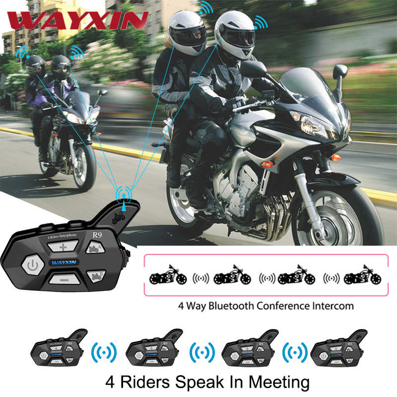 WAYXIN חדש קסדת אוזניות R9 2Pcs Bluetooth אינטרקום לאופנוע 4 רוכבים מדברים אותו זמן Bluetooth אינטרקום FM 4 רוכבים