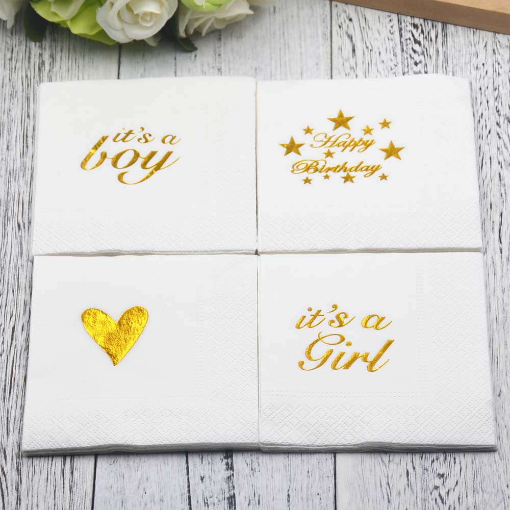 Gold Happy Birthday Party Paper Napkins Decoration Kids Baby shower Napkins Decoupage Unicorn Party Decor Just Married