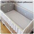 ¡ Promoción! 6 unids Rosa juego de cama de bebé bebe jogo de cama cuna juego de cama ropa de cama de bebé, incluir (bumpers + hoja + funda de almohada)