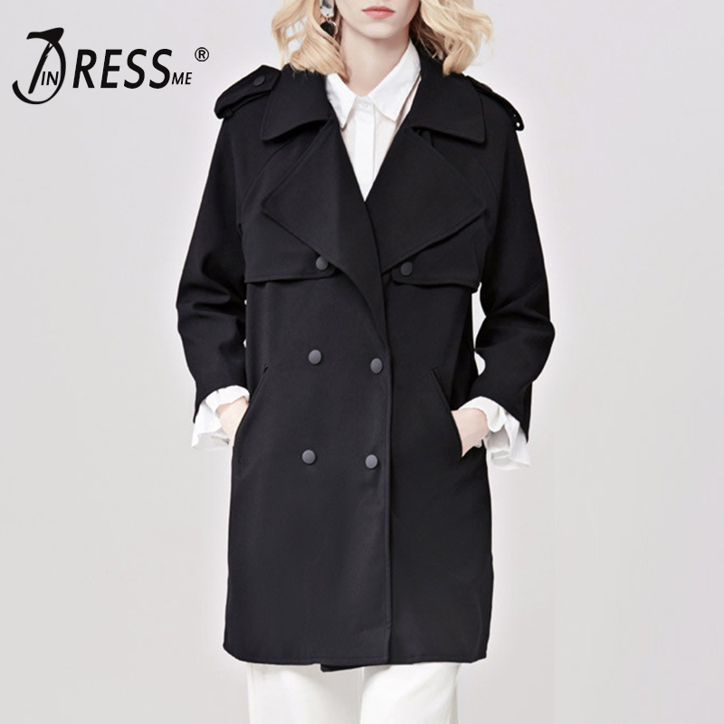 INDRESSME Casual Streetwear Full Sleeve Turn Down Collar Women   Trench   Long Wide Waisted Double Breasted Women Coat Clearance