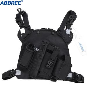Image 2 - Abbree chest harness 프론트 팩 파우치 홀스터 조끼 리그 양방향 라디오 워키 토키 (rescue essentials) (reflective black)