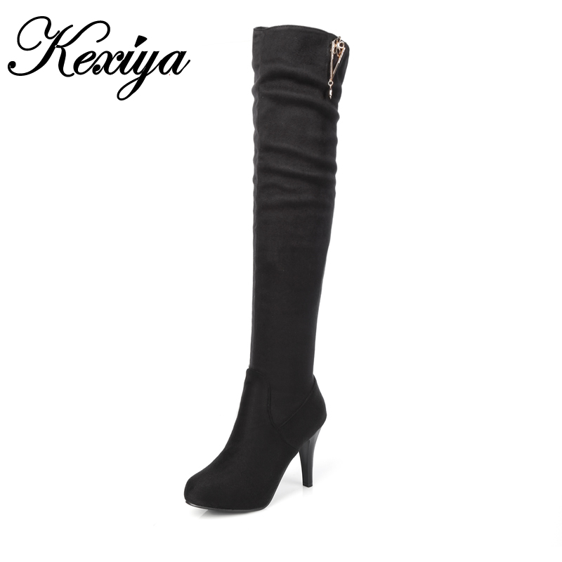 ФОТО 2016 Fashion women winter Slip-On botas sexy Round Toe thin heel high heel shoes big size 32-45 ladies black Over-the-Knee boots
