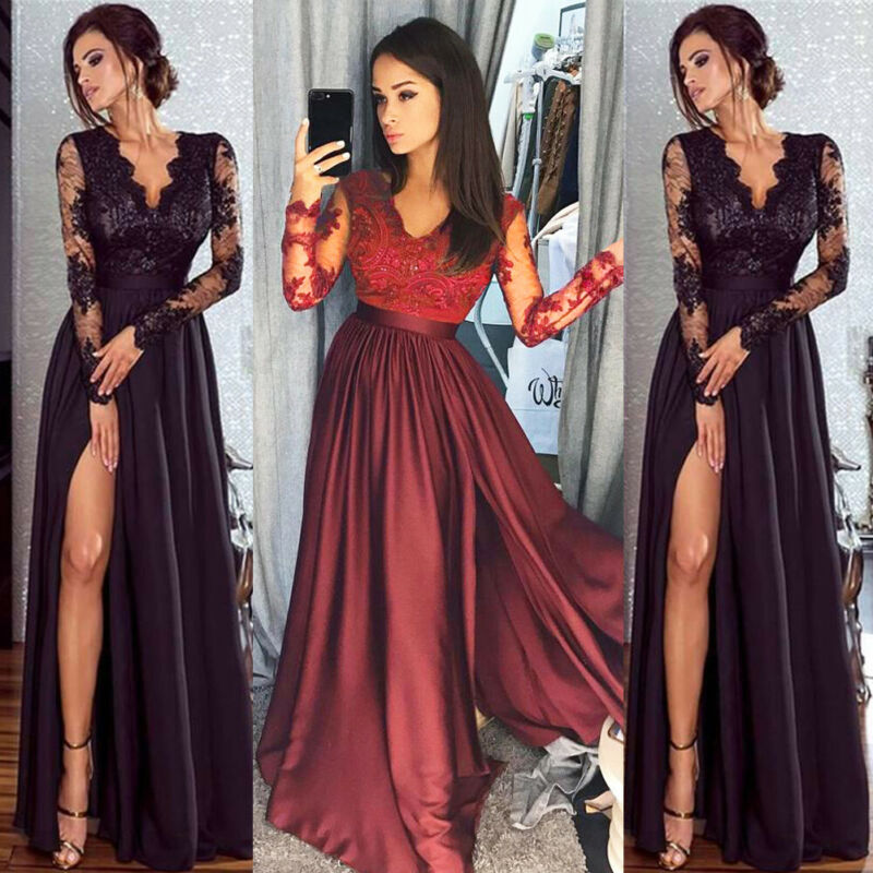 Women's Bandeau Sexy Lace Split Long Evening Club Dress Ladies V Neck Sexy Lace Long Sleeve High Waist Party Ball Gown Dress