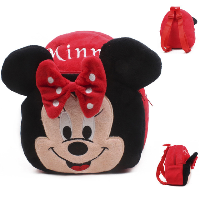 New girls pink schoolbag Cartoon design lovely Mickey Minnie plush backpack for kids 1