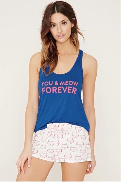 Verano de las mujeres oscuro azul del pijama conjuntos Loose conjuntos de pijamas de algodón mujeres pijama Tops + Shorts Homewears