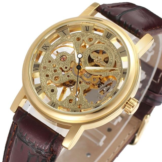 9022e5dece2 Vencedor Relógios Homens Baixo Preço da Alta Qualidade Mechanicanl Relógio  Masculino Pulseira de Couro Relógio Vestido