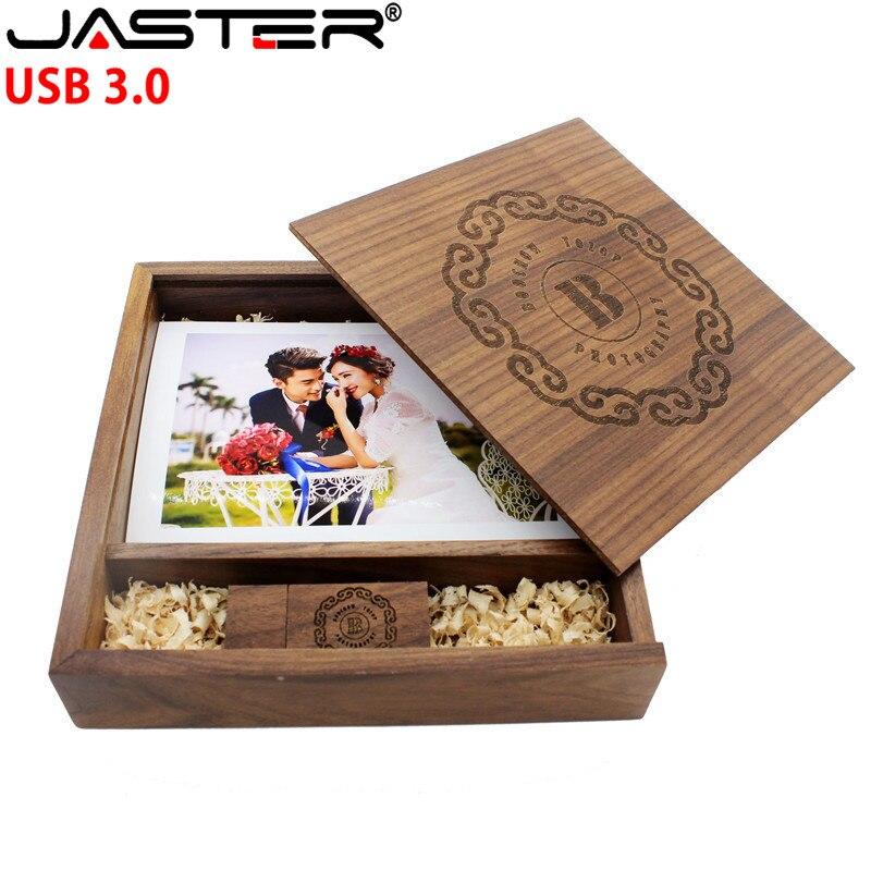 USB 3.0 FREE LOGO Wooden Photo Album Usb+GIFT Box Usb Flash Drive Usb Stick Pendrive 8B 16B 32B 64GB Photography Wedding Gift