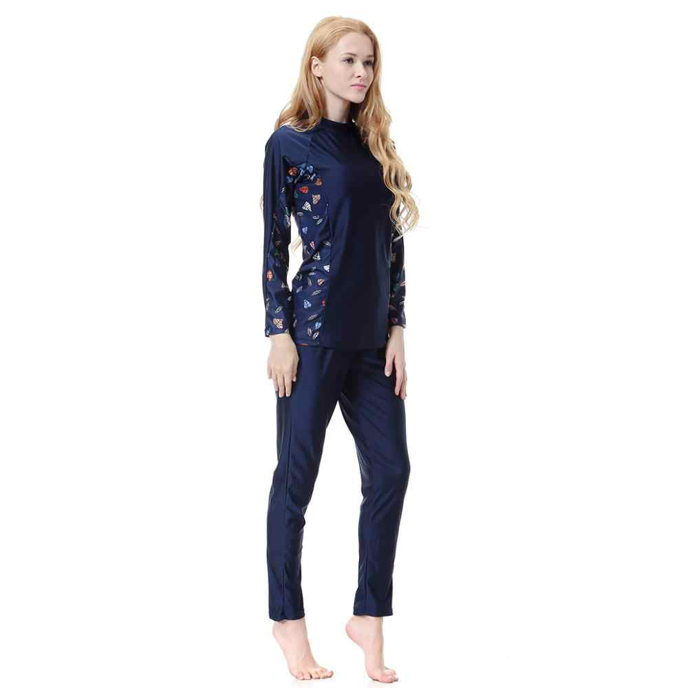 Fashion floral Moslem bathing wear for womens modest islamic swim wear full cover suit ladies surf swimsuit plus size S-XXXL