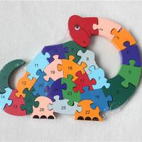 New Wooden Toy Animal Dinosaur 26 Piece English Letters Digital Cognitive Wooden Jigsaw Puzzle Free Shipping