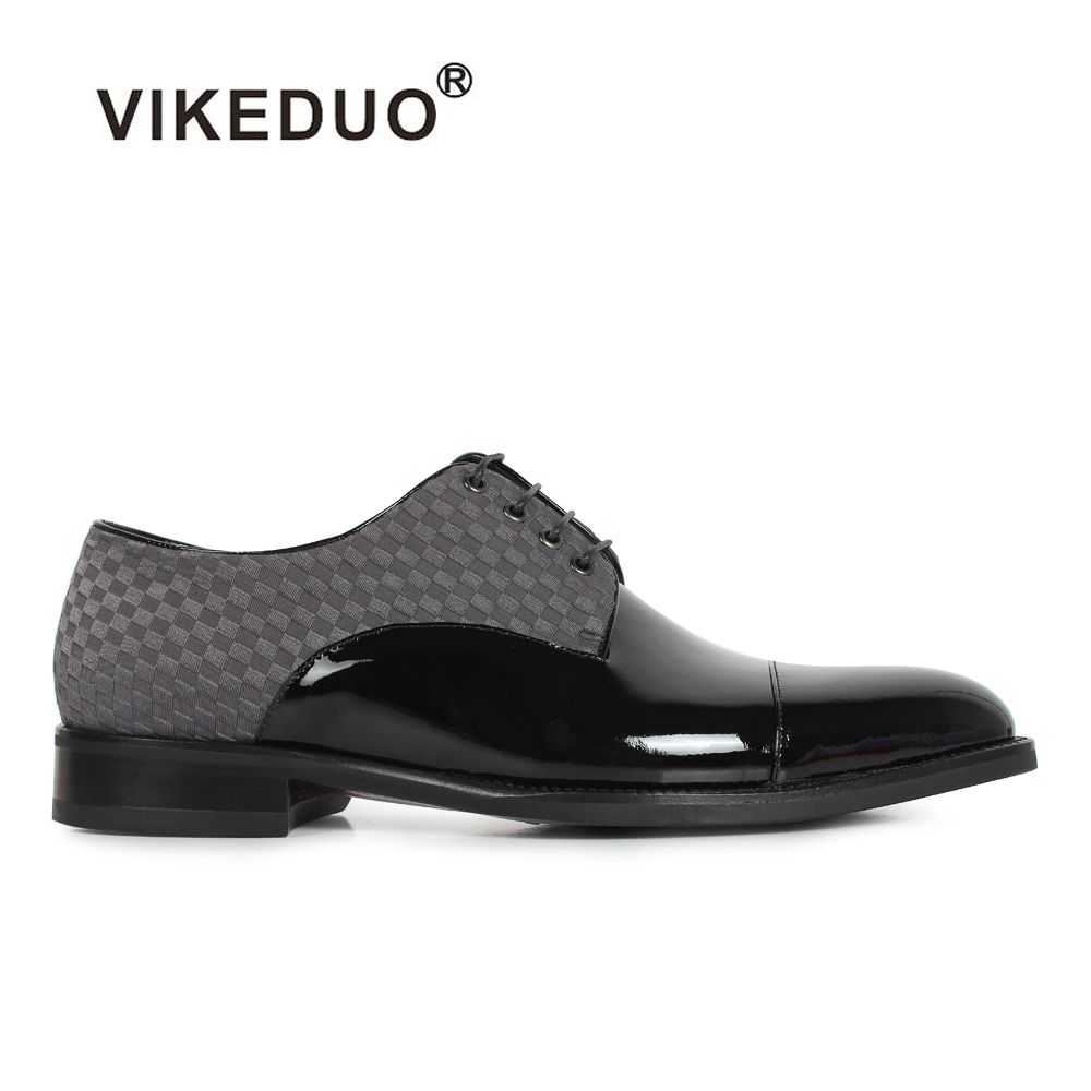 VIKEDUO Flat Shoes Classic Men's Derby Shoes Custom Made 100% Genuine Leather Dress Party Shoes Lace-Up Black Original Design new love live cosplay shoes sonoda umi lonelive anime party boots custom made