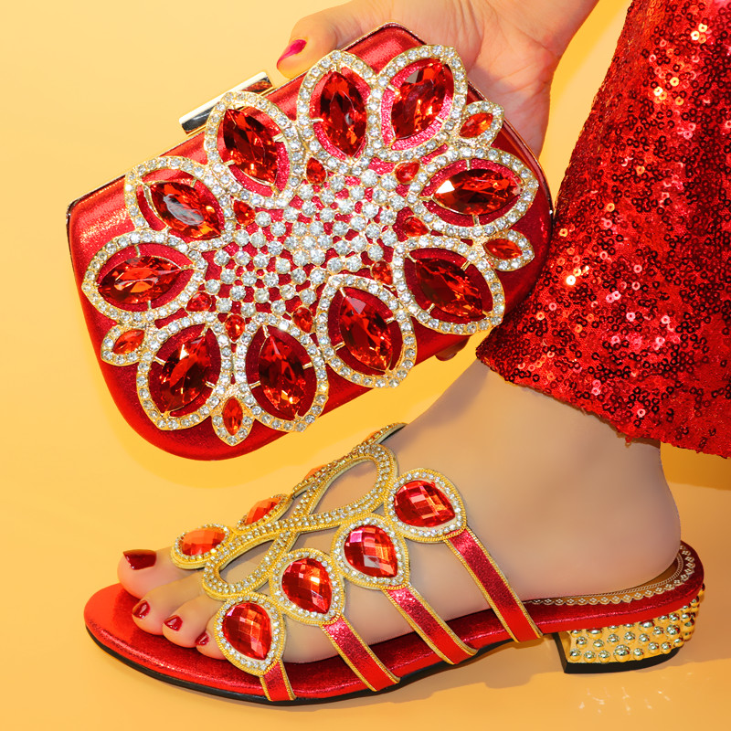 Rhinestone Wedding Italian Shoes with Matching Bag High Quality African Shoes and Bag Set Party Women Nigerian Shoes and Bag Set-in Women's Pumps from Shoes    2