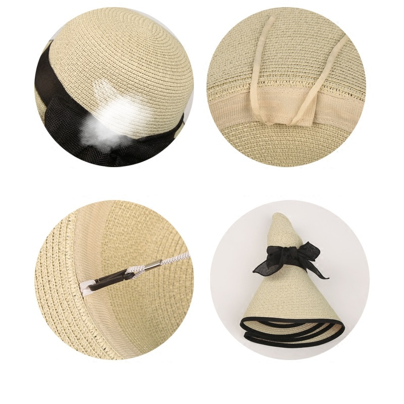 Girls New Sun Hats Women Vintage Large Brim Boater Hat Wheat Straw ... d3dd95b32be1