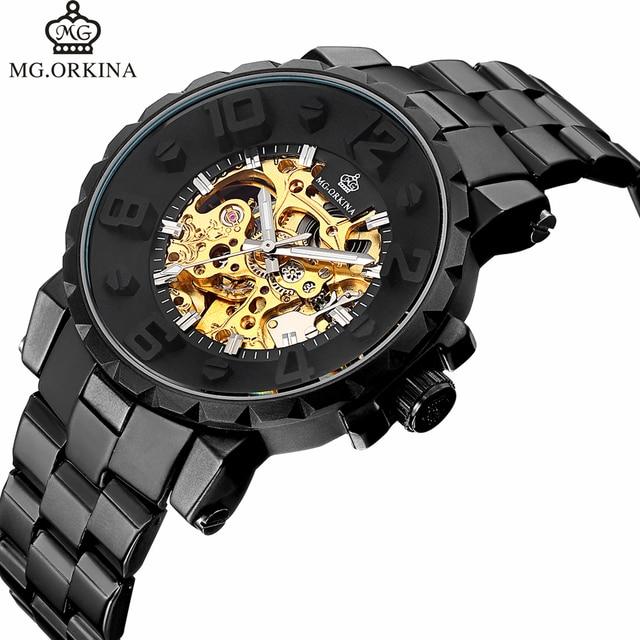 Автоматические механические часы Для мужчин Горячая Часы с костями серебряный браслет наручные Элитный бренд Orkina Для мужчин смотреть Авто с автоподзаводом