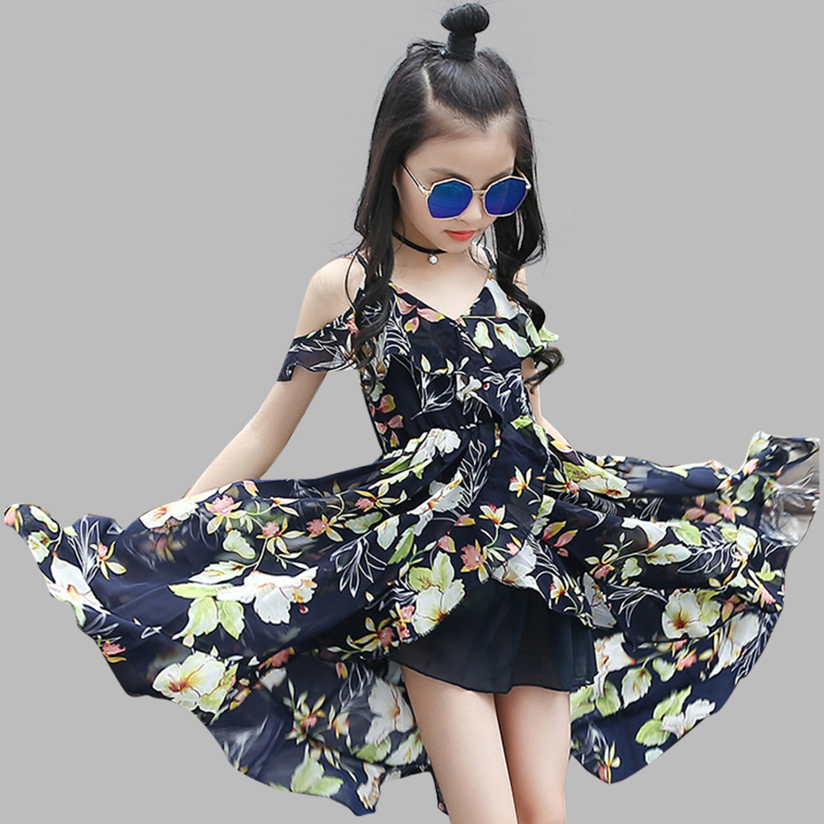 Girls Dress Bohemia Style Dresses Girls Sleeveless Floral Dress For Adolescents 8 10 12 Big Kids Girls Clothes(China)