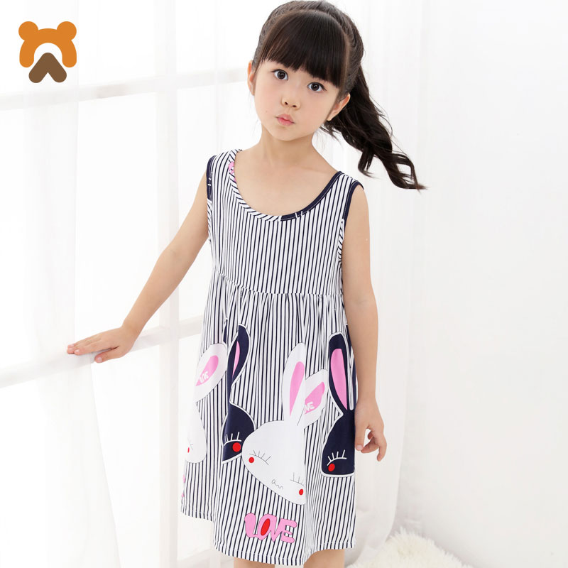 Summer Girls Nightgowns Sleeveless Character Children Nightdress Modal Knitted Conjoined Pajama Sleepwear Nightgown For Kid Girl modal analysis