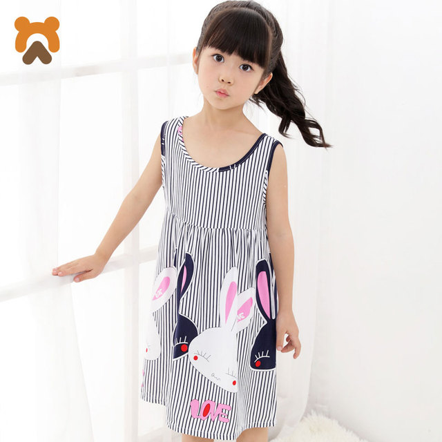 Summer Girls Nightgowns Sleeveless Character Children Nightdress Modal  Knitted Conjoined Pajama Sleepwear Nightgown For Kid Girl 16a8b00b7