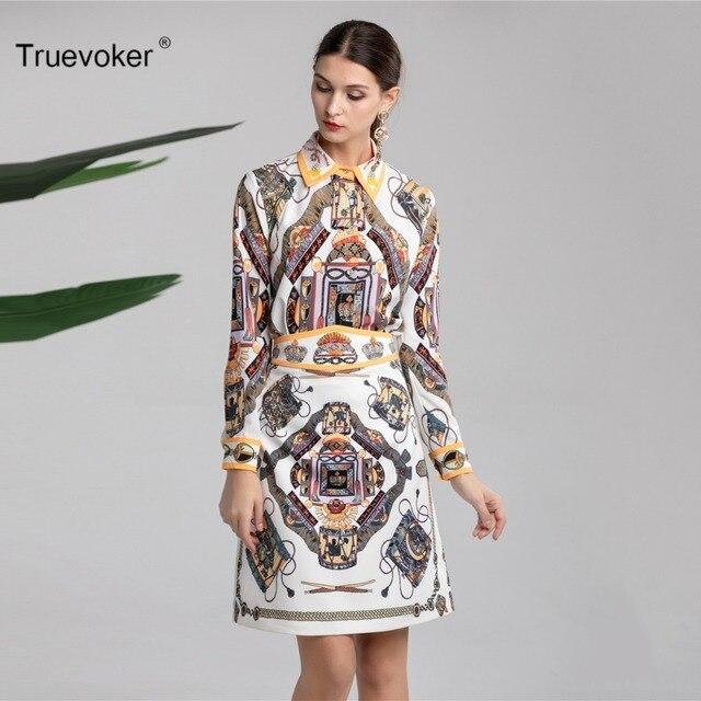 Truevoker Spring Designer Set Suit Women s High Quality Colorful Printed  Diamond Beading Blouse + Pencil Skirt Suit Clothing Set 017e3d79547a