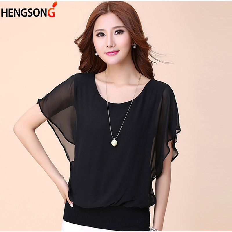 2019 Summer Women Blouses And Tops Solid Color Chiffon Blouse Bat Sleeve O-neck Korean Ladies Chiffon Shirt Female Tops Clothes