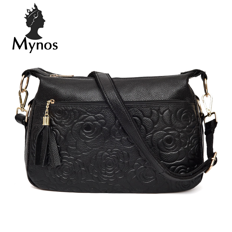 MYNOS Women Messenger Bag 100% Cowhide Leather Vintage Tassel Crossbody Bag For Women SAC A MAIN Femme Flowers Tote Bag Female sitemap 66 xml