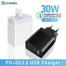 Coolreall Sạc Nhanh Quick Charge 3.0 Sạc USB Di Động Cho Huawei Xiaomi Samsung QC3.0 30W Bộ Sạc PD 3.0 Sạc Cực Nhanh dành Cho iPhone