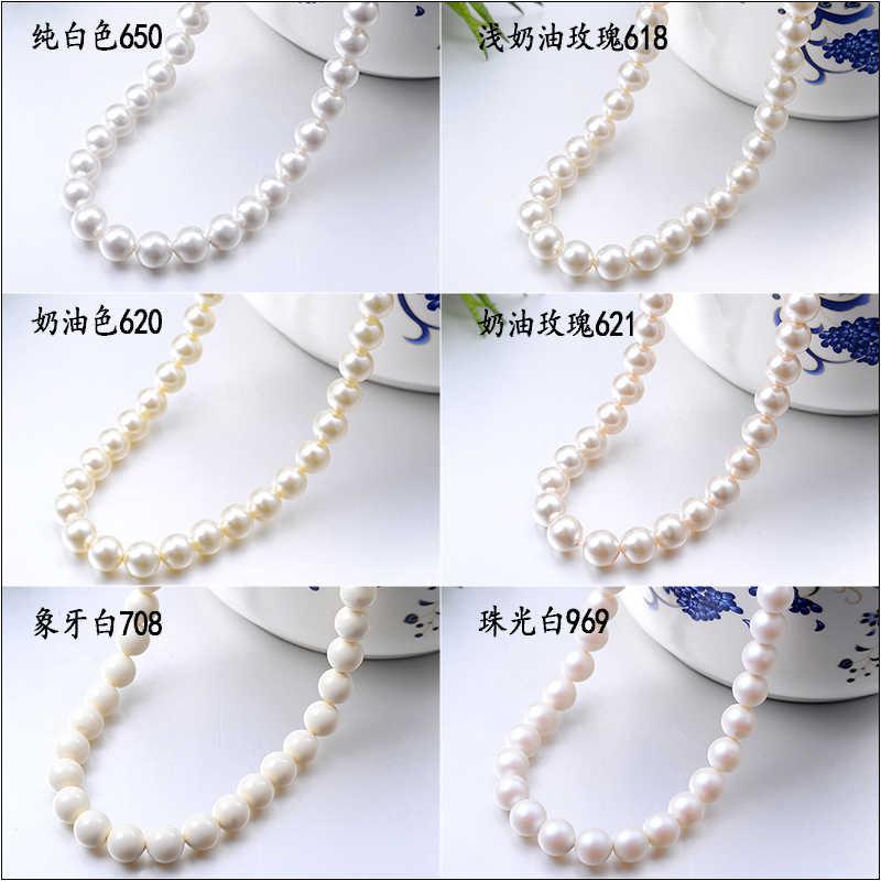 Cristal de Swarovski 100% Original, cuentas de perlas redondas 5810 con agujero completamente perforado, cuentas para brazalete DIY, accesorios de joyería