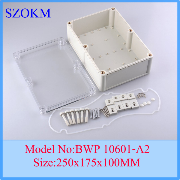 1 piece free shipping plastic case    clear cover with box electronic box	  waterproof enclosure 250*175*100mm 1 piece free shipping plastic enclosure for wall mount amplifier case waterproof plastic junction box 110 65 28mm