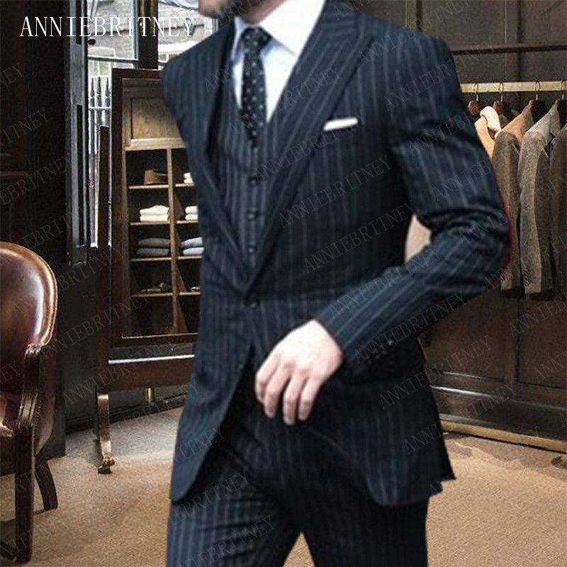 ANNIEBRITNEY Suit Men 2019 Groomsmen Wedding Suits Tailored Slim Fit Formal Man Tuxedo Mens Suits with Pants Set Handsome Blazer
