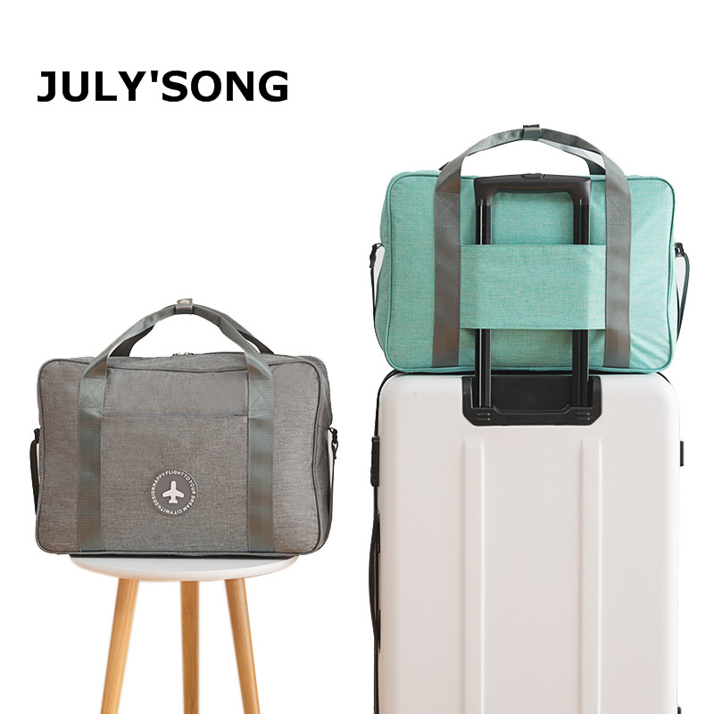 JULY'S SONG Cationic Fabric Waterproof Travel Bag Solid Portable Storage Bag Large Capacity Organizer Travel Duffle Bag