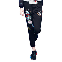 New arrival women spring and summer embroidery pencil pants casual slim Character pattern black color pants 2019
