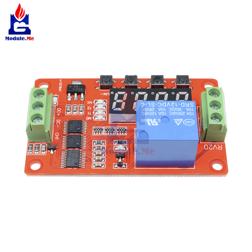 Multifunction Self-Lock Relay 12V DC PLC Cycle Delay Time Timer Switch  Module PLC Home Automation Delay Module with LED Display