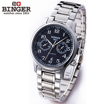 Binger China Post Ship 2017 Brand New Mens Automatic Mechanical Watch Date With Black Steel Dial Watches Original Box Wristwatch original binger mans automatic mechanical wrist watch date display watch self wind steel with gold wheel watches new luxury