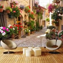 Эгейское средиземноморском европа улице ресторан 3D фон большая фреска гостиной телевизор обои