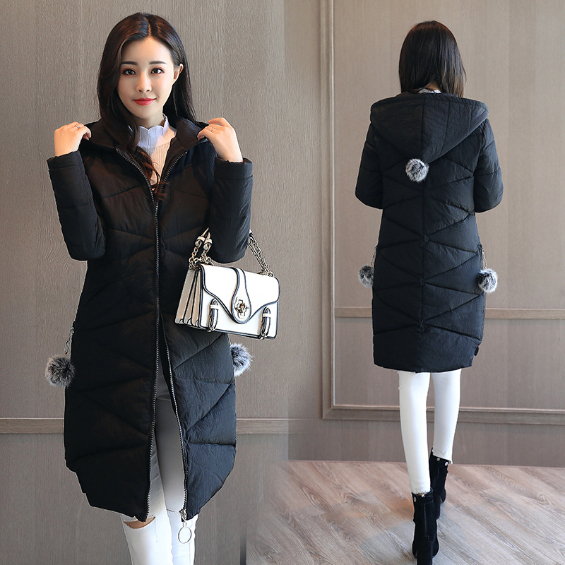 US $39 71 39% OFF|Winter Jacket Women 2017 New Down Cotton Padded Voat  Fashion Thick Warm Long Hooded Wave Cut Long Coat For Female Parka QW672-in