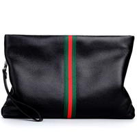 Striped Genuine Leather Men Clutch Bag High Quality Brand Casual Large Capacity Male Wallets Business Fanshion