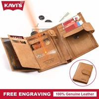 KAVIS Genuine Cow Leather Wallet Men Coin Pocket Small Portomonee Walet PORTFOLIO Slim Gift Male For
