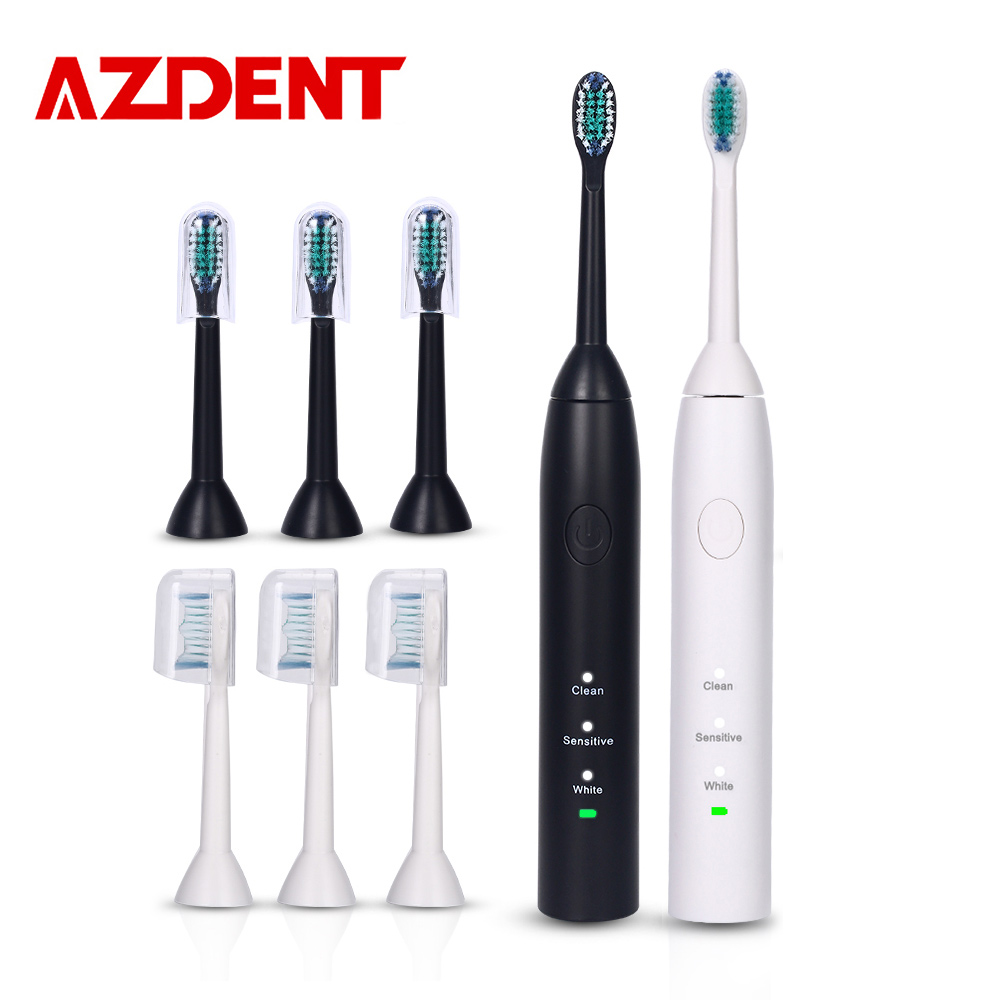 AZDENT 3 Functions Ultrasonic Electric Toothbrush Rechargeable Tooth Brush with 4 pcs Heads Powerful Sonic Teeth Brush Oral Care 2pcs philips sonicare replacement e series electric toothbrush head with cap